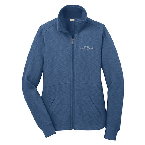 A full zip sophisticated fleece jacket in lake blue. EMBRACE THE RACE logo embroidered on left chest.