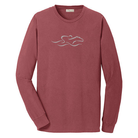 A brick colored long  sleeve T-Shirt with the EMBRACE THE RACE icon center front