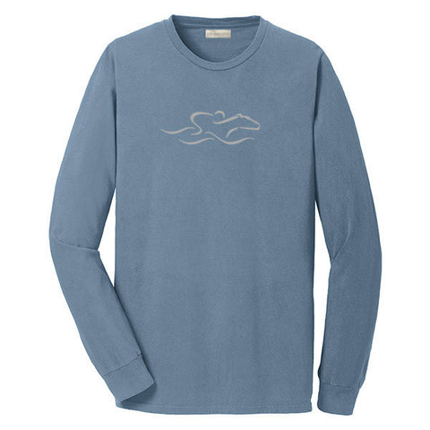 A denim colored long  sleeve T-Shirt with the EMBRACE THE RACE icon center front