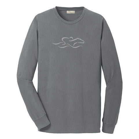 A gray colored long  sleeve T-Shirt with the EMBRACE THE RACE icon center front