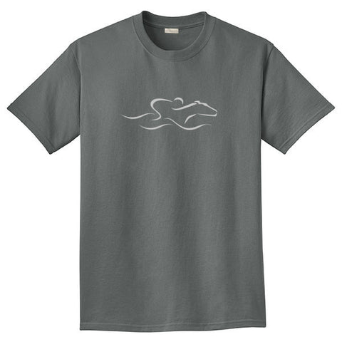 A gray colored short sleeve T-Shirt with the EMBRACE THE RACE icon center front