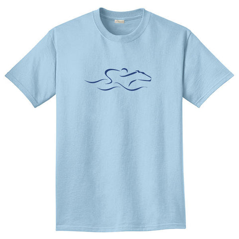 A light blue colored short sleeve T-Shirt with the EMBRACE THE RACE icon center front