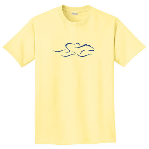A yellow colored short sleeve T-Shirt with the EMBRACE THE RACE icon center front