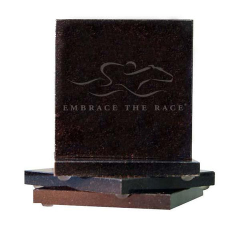 Beautiful black granite square coasters etched with the EMBRACE THE RACE logo. Set of four