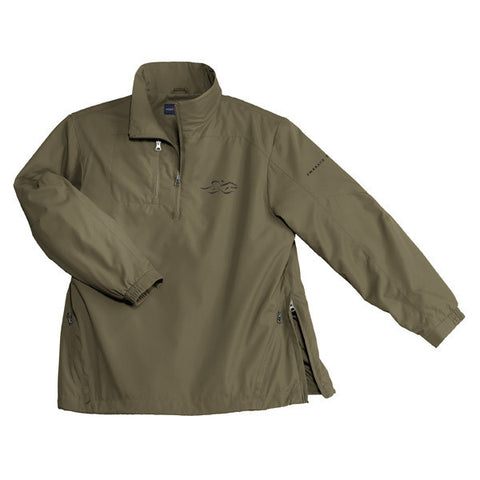 An oive green polyester half zip wind jacket with EMBRACE THE RACE logo embroidered on left chest.