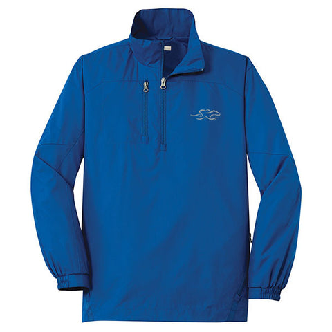 A royal polyester half zip wind jacket with EMBRACE THE RACE logo embroidered on left chest.