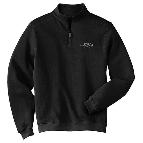a harbor rib quarter zip sweater in black.  EMBRACE THE RACE logo embroidered on left chest.