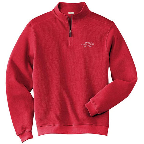 A harbor rib quarter zip sweater in cardinal.  EMBRACE THE RACE logo embroidered on left chest.