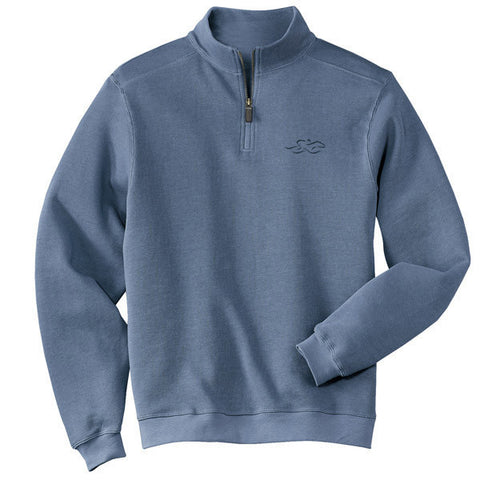 A harbor rib quarter zip sweater in columbia blue.  EMBRACE THE RACE logo embroidered on left chest.