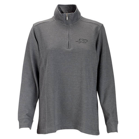 A harbor rib quarter zip sweater in gray.  EMBRACE THE RACE logo embroidered on left chest.