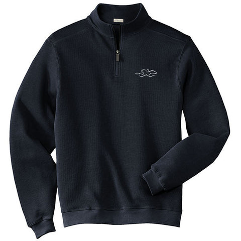 A harbor rib quarter zip sweater in navy.  EMBRACE THE RACE logo embroidered on left chest.