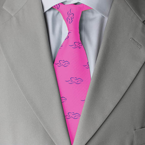 Beautiful hot pink 100% silk tie printed with our royal EMBRACE THE RACE icon.