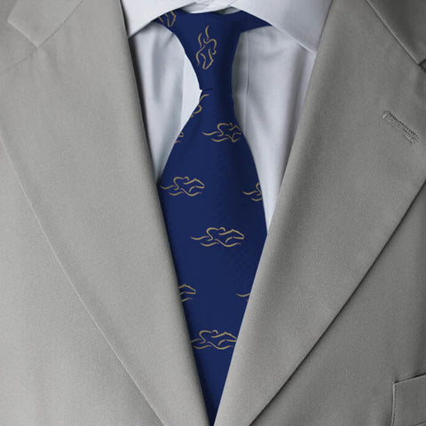 Beautiful navy blue 100% silk tie printed with our yellow EMBRACE THE RACE icon.