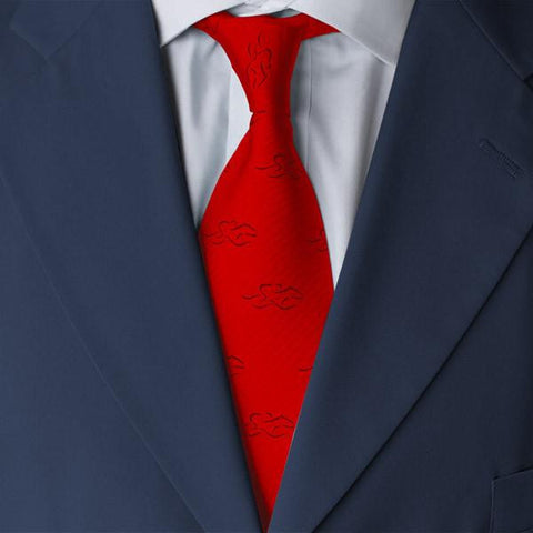 A mens red silk tie with navy EMBRACE THE RACE icon.
