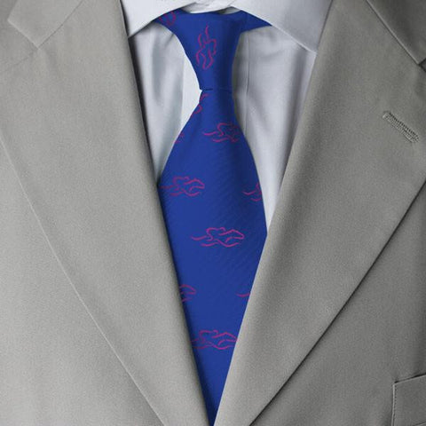A mens royal blue silk tie with hot pink EMBRACE THE RACE icon.