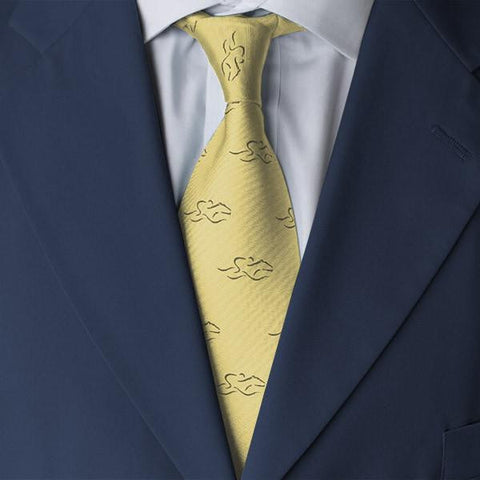 A mens yellow silk tie with navy EMBRACE THE RACE icon.