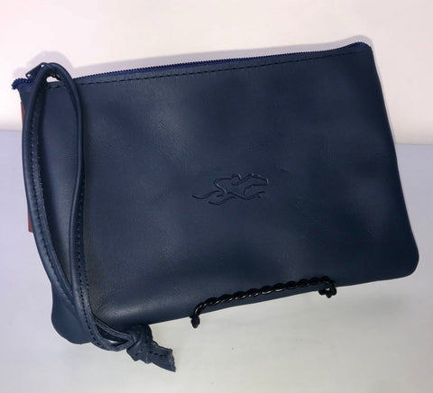 EMBRACE THE RACE® Leather Wristlet - Navy
