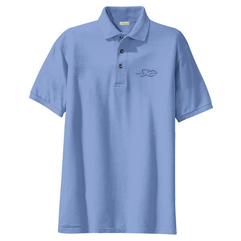 A kids soft columbia blue pique classic polo with EMBRACE THE RACE logo embroidered on the left chest.