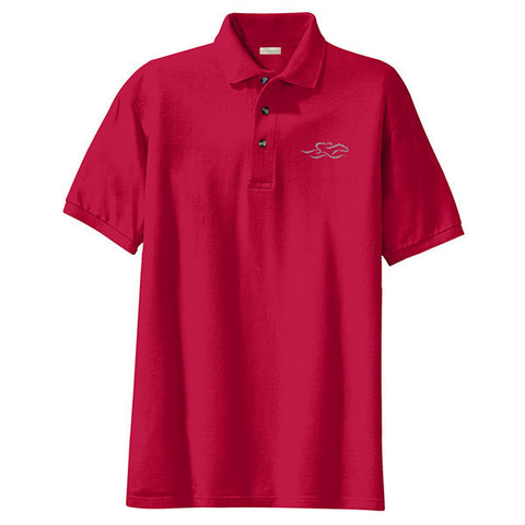 A kids soft red pique classic polo with EMBRACE THE RACE logo embroidered on the left chest.