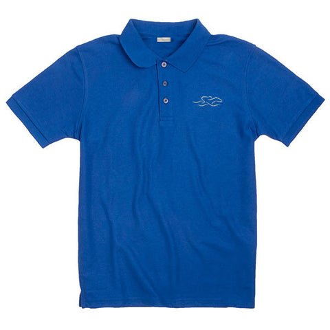 A kids soft royal pique classic polo with EMBRACE THE RACE logo embroidered on the left chest.