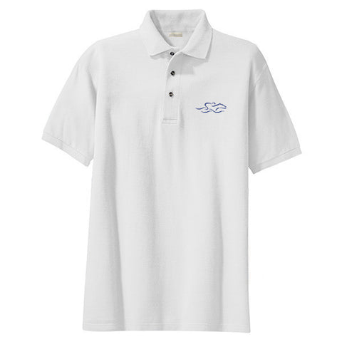 A kids soft white pique classic polo with navy EMBRACE THE RACE logo embroidered on the left chest.