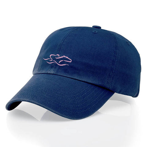 A youth size garment washed cotton twill navy hat/pink icon with relaxed crown and adjustable buckle. EMBRACE THE RACE icon center front and wordmark on the back.
