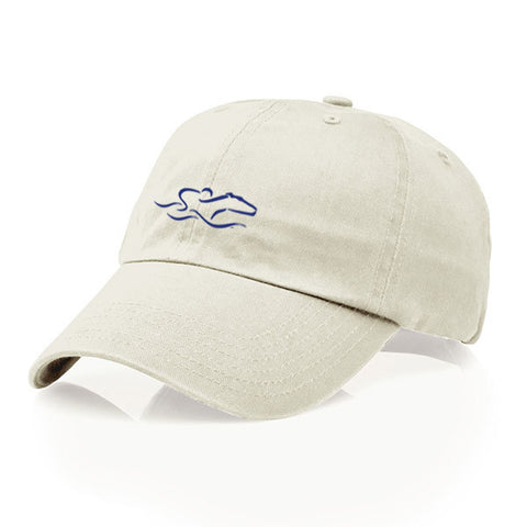 A youth size garment washed cotton twill stone hat/navy icon with relaxed crown and adjustable buckle. EMBRACE THE RACE icon center front and wordmark on the back.