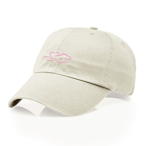 A youth size garment washed cotton twill stone hat/pink icon with relaxed crown and adjustable buckle. EMBRACE THE RACE icon center front and wordmark on the back.