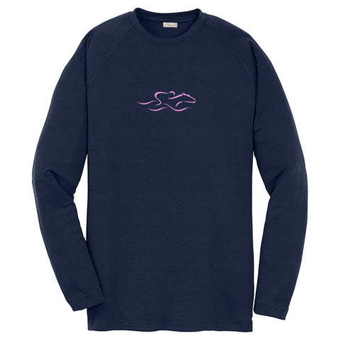 A kids navy performance stay dry long sleeve t-shirt with the EMBRACE THE RACE icon center front in pink.