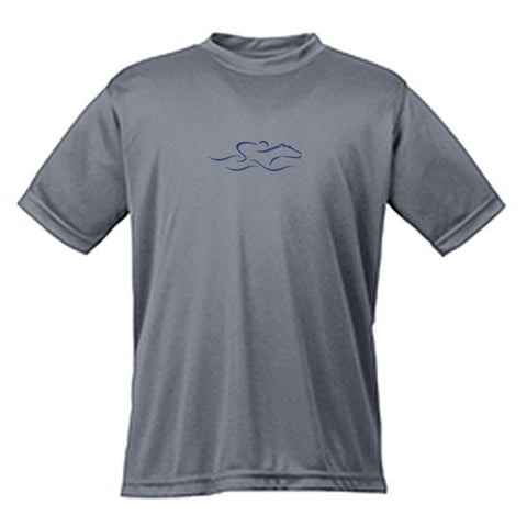 A kids gray performance stay dry t-shirt with the EMBRACE THE RACE icon center front.