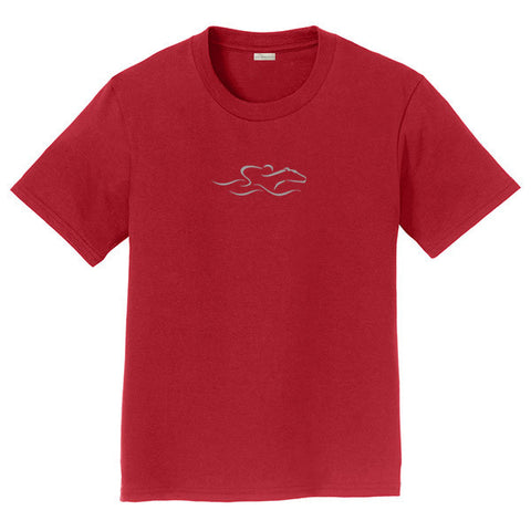 A kids cardinal soft ringspun cotton tee with a white EMBRACE THE RACE icon center front.