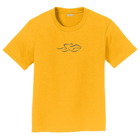 A kids gold soft ringspun cotton tee with a navy EMBRACE THE RACE icon center front.