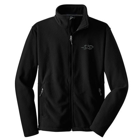 A black full zip fleece jacket with EMBRACE THE RACE logo embroidered on the left chest.