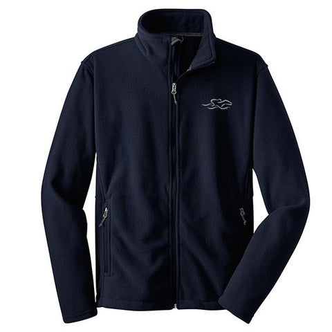 A navy full zip fleece jacket with EMBRACE THE RACE logo embroidered on the left chest.