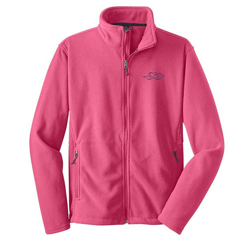 A pink full zip fleece jacket with EMBRACE THE RACE logo embroidered on the left chest.