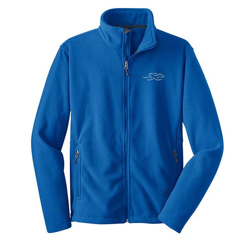 A royal full zip fleece jacket with EMBRACE THE RACE logo embroidered on the left chest.