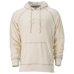 This sand colored slub cotton hoodie is off set with contrasting trim around the hood, shoulders and kangaroo pouch.  Two layered flip up hood with 7 inch vintage EMBRACE THE RACE icon at center chest.