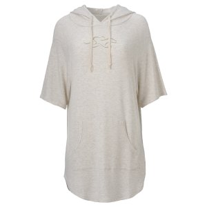 Luxury Short Sleeve French Terry Hoodie - Sand