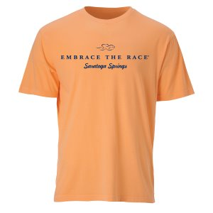 A garment dyed melon colored short sleeve t-shirt with navy EMBRACE THE RACE logo and Saratoga Springs center front