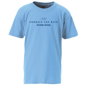 Kids 100% cotton carolina blue tee shirt with the EMBRACE THE RACE logo and Saratoga Springs in Navy blue center front