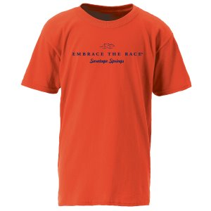 100% cotton youth short sleeve tee in orange with navy EMBRACE THE RACE logo and Saratoga Springs center front