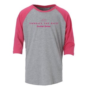 Heathered gray unisex baseball tee with contrast hot pink 3/4 length sleeves.  EMBRACE THE RACE logo and Saratoga Springs printed center front in hot pink
