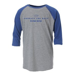 Heathered gray unisex baseball tee with contrast royal blue 3/4 length sleeves.  EMBRACE THE RACE logo and Saratoga Springs printed center front in royal blue