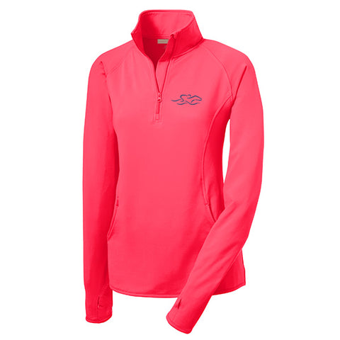 Womens Super Sport Pullover-Hot Coral
