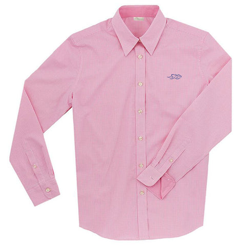 A Paddock Collection mini check ladies full button shirt in pink.  EMBRACE THE RACE logo embroidered on left chest in navy