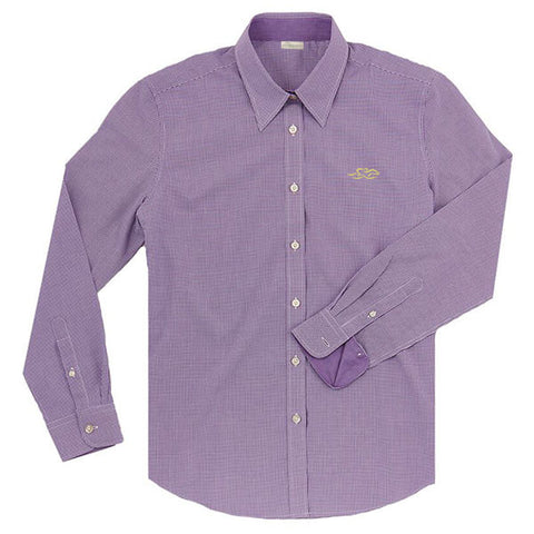 A Paddock Collection mini check ladies full button shirt in purple.  EMBRACE THE RACE logo embroidered on left chest in yellow.