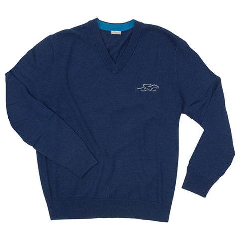 A lightweight LS merino wool sweater in navy with the EMBRACE THE RACE logo embroidered on the left chest