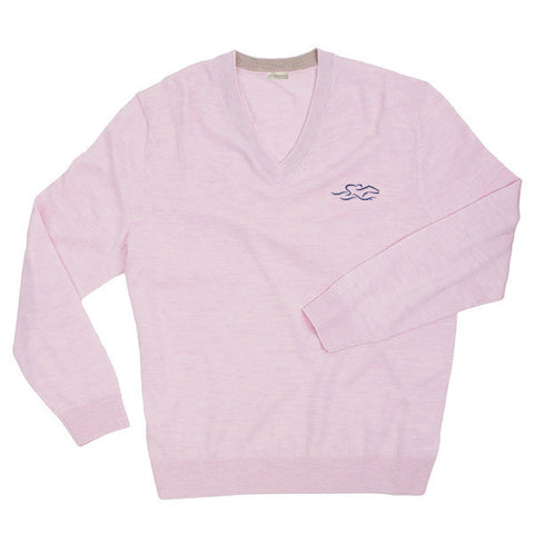 A lightweight LS merino wool sweater in pink with the EMBRACE THE RACE logo embroidered on the left chest