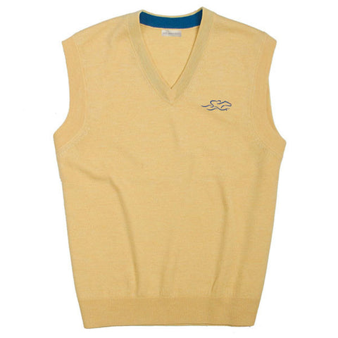A lightweight yellow merino wool sweater vest perfect for layering.  EMBRACE THE RACE logo embroidered on the left chest