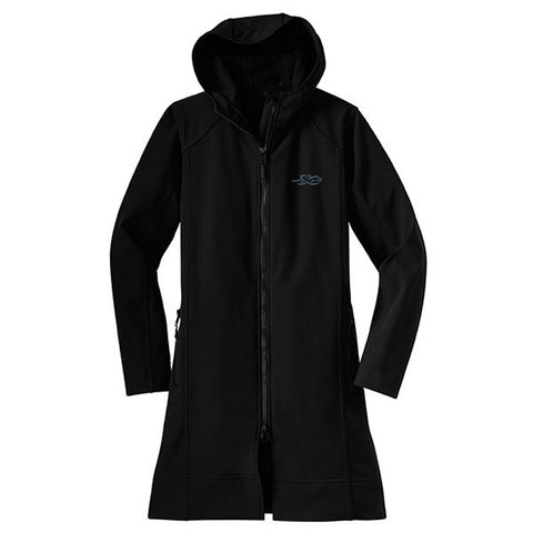 A thigh length hooded black soft shell jacket with drawcord waist.  EMBRACE THE RACE logo embroidered on left chest